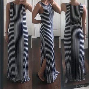 Max Studio navy & white striped maxi dress